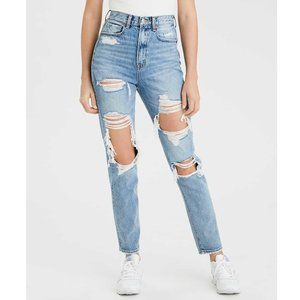 American Eagle Distressed Light Wash Mom Jeans